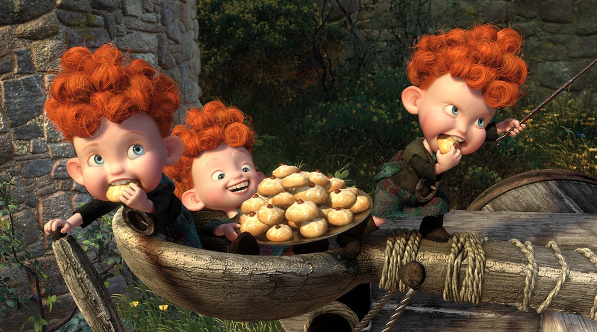 The triplets, Harris, Hubert, and Hamish, eating cookies in the movie Brave