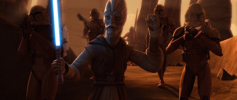 Ki-Adi-Mundi leading Clone Troopers during the second Battle of Geonosis