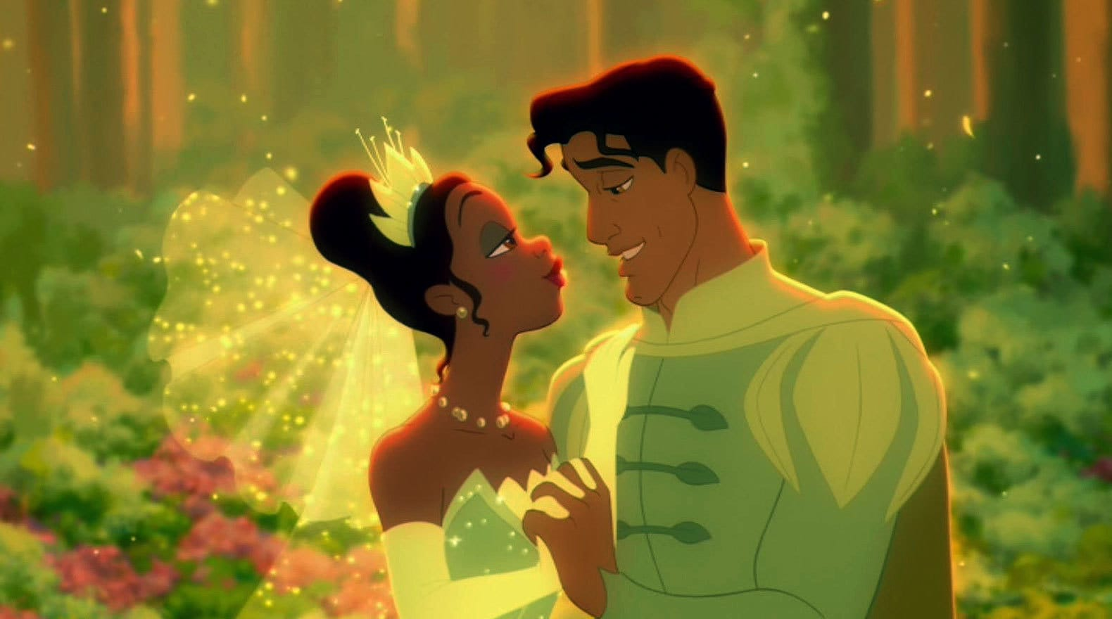 Tiana and Naveen dancing together at their wedding in The Princess and the Frog