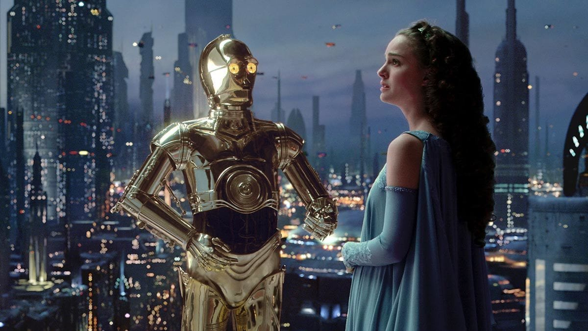 C-3PO and Padmé Amidala on Coruscant