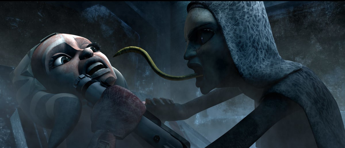 A brain worm-infected Barriss attacks Ahsoka