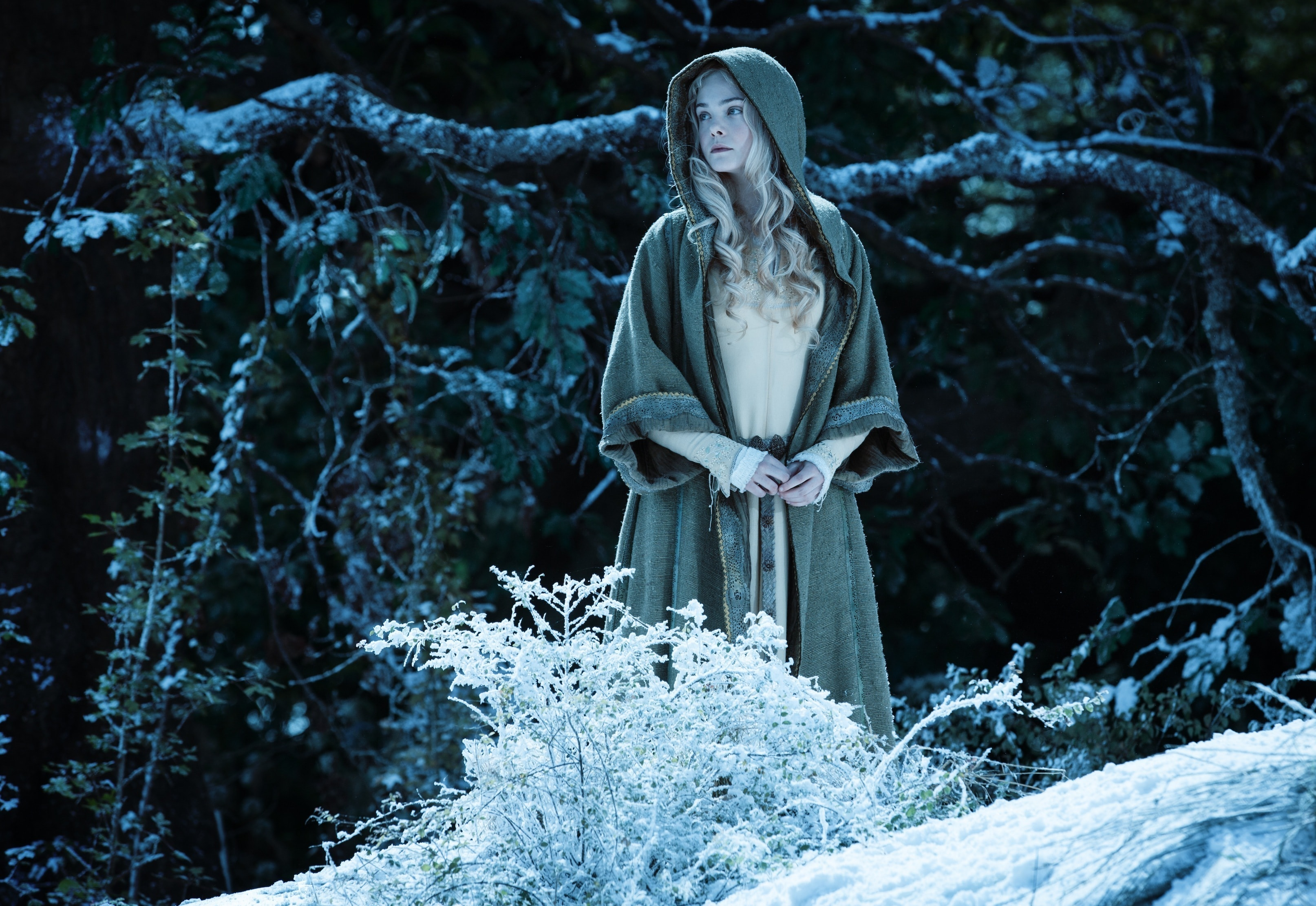 """A hooded Elle Fanning as Aurora in the forest in the movie """"Maleficent"""""""