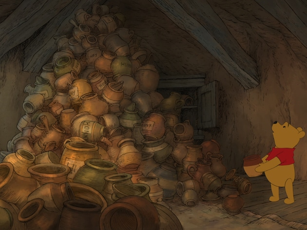 Pooh doesn't like discovering that all the honey is gone.