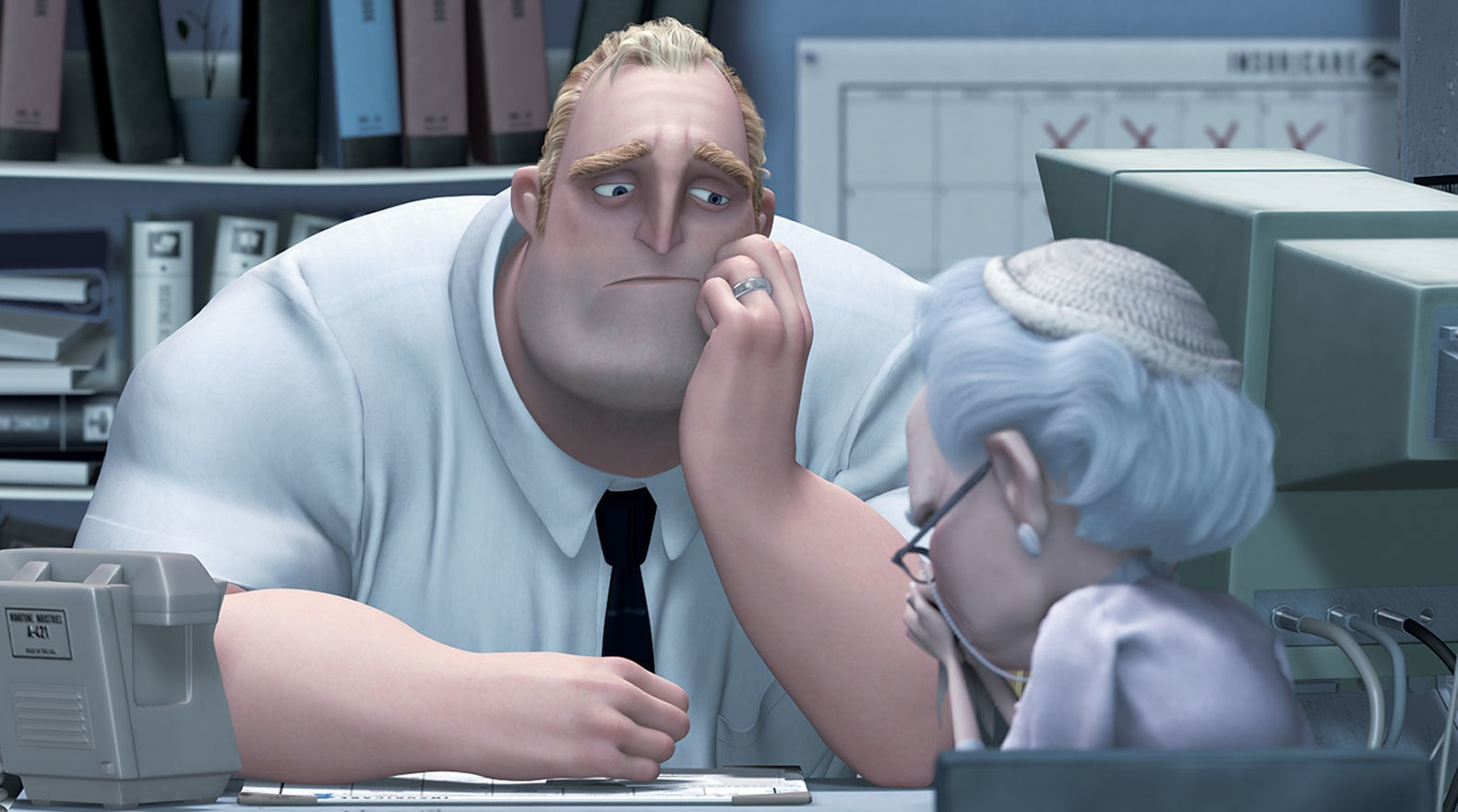 """Mr. Incredible at this office job in """"The Incredibles"""""""