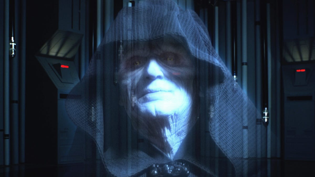 Darth Sidious during a holocall with Darth Vader