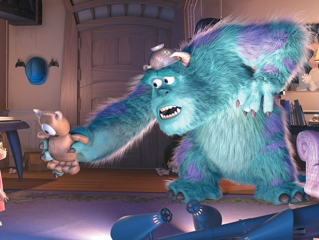 "Sulley tries to distract the ""highly toxic"" child, Boo."