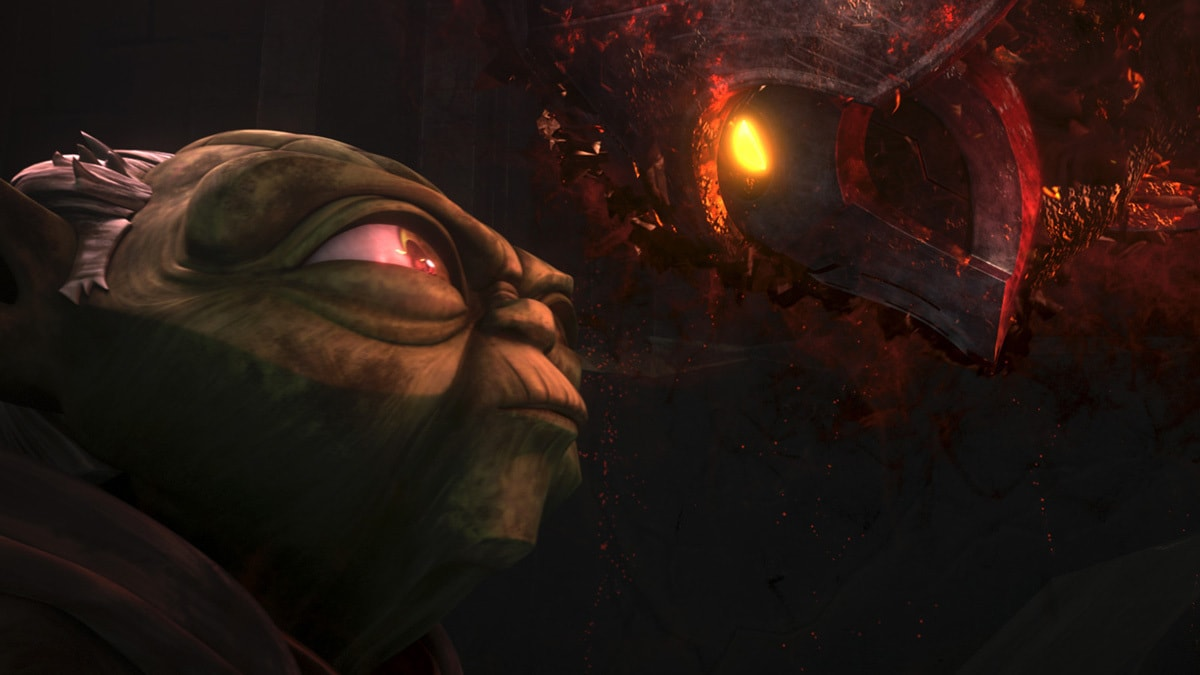 Yoda speaking face to face with an apparition of Darth Bane