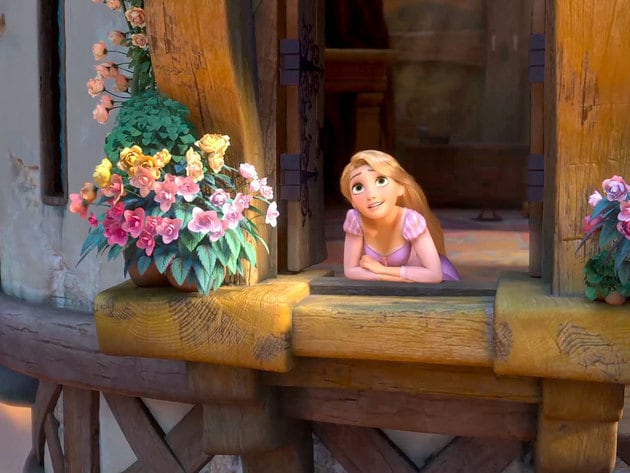 Rapunzel spends many days looking out at the world, wondering when her life will start.