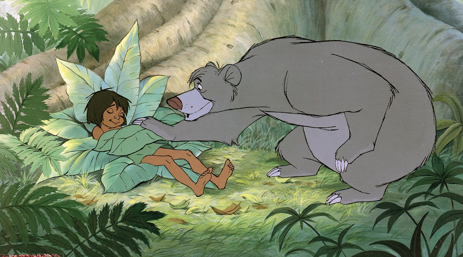 Baloo tucks Mowgli in for the night. Mowgli (voice of Bruce Reitherman) and Baloo (voice of Phil Harris) from the Disney movie The Jungle Book (1967).
