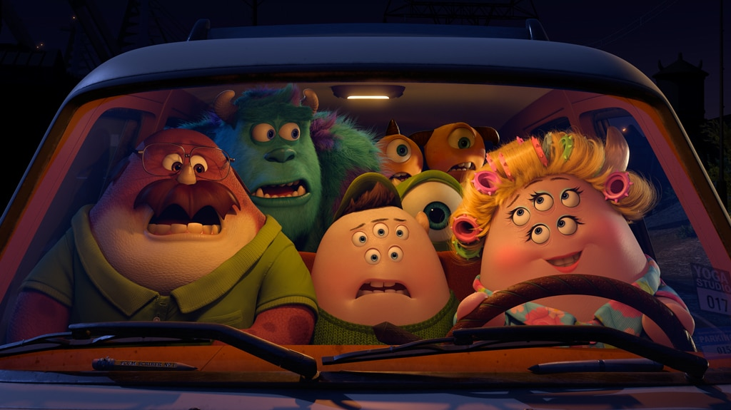 """Mike, Sulley and friends piled in to a car with Ms. Squibbles from the movie """"Monsters University"""""""