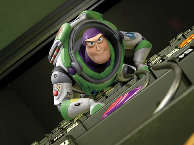 Buzz climbs to the top while inside a vending machine.