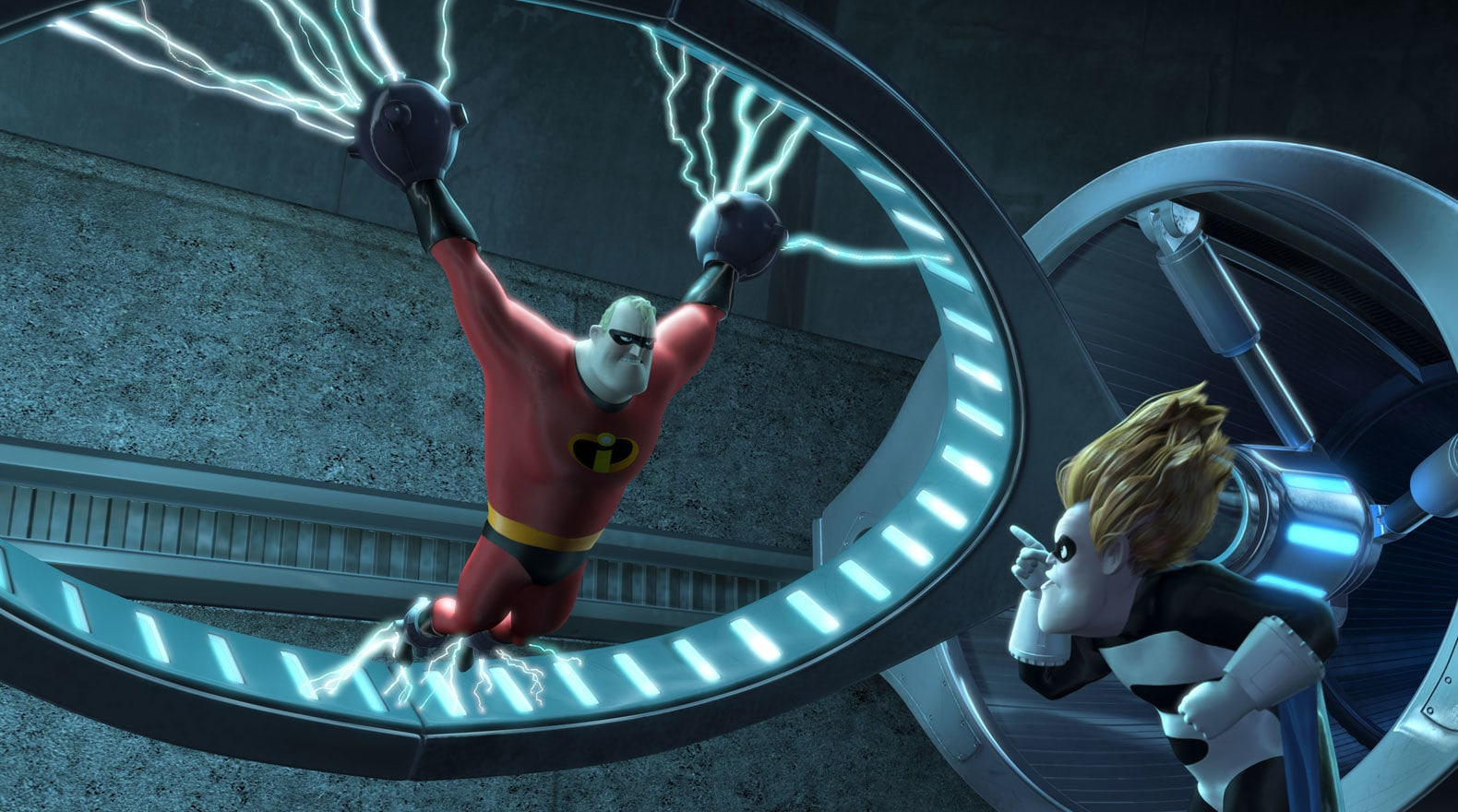 Mr. Incredible has a hard time getting past Syndrome.