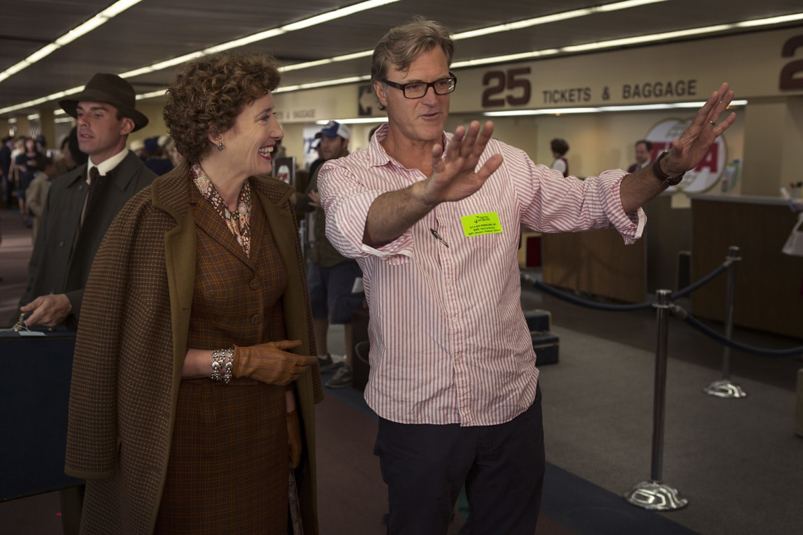 """Actor Emma Thompson (as P.L. Travers) and director John Lee Hancock behind-the-scenes in the movie """"Saving Mr. Banks""""."""