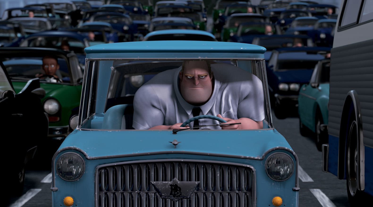 """Bob aka Mr. Incredible is stuck in his very small car in """"The Incredibles"""""""