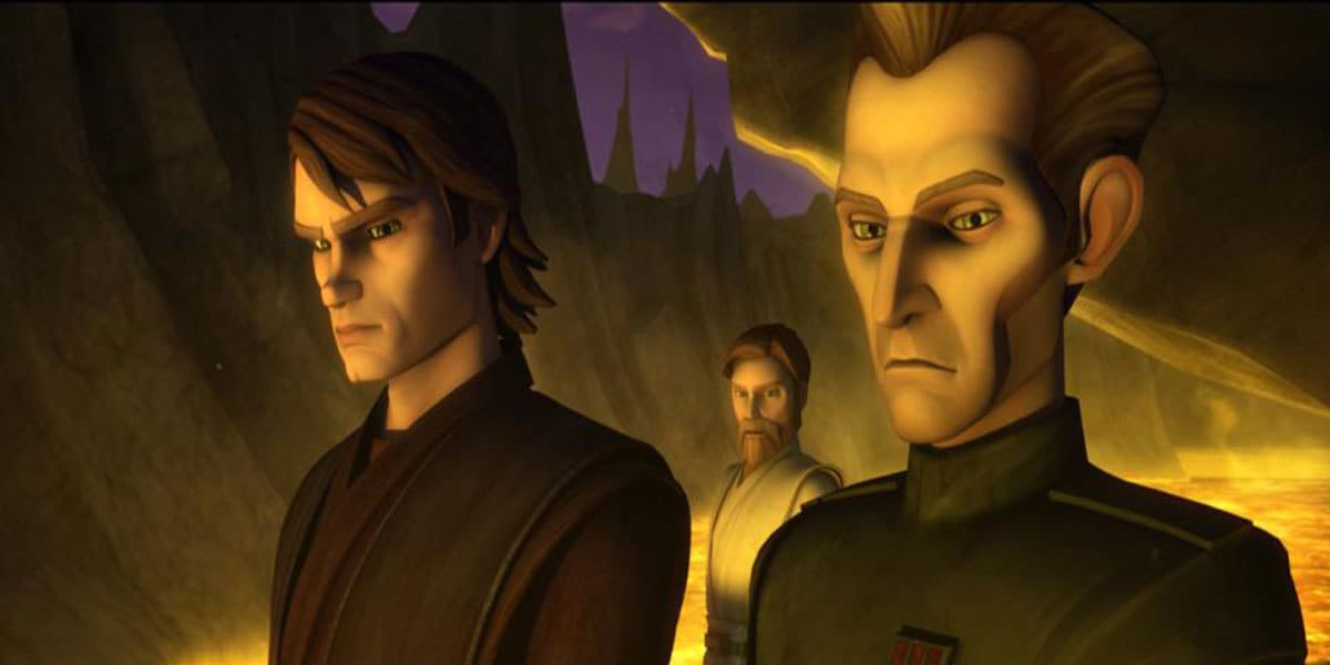 Tarkin observing the volcanic landscape of Lola Sayu with Anakin Skywalker and Obi-Wan Kenobi