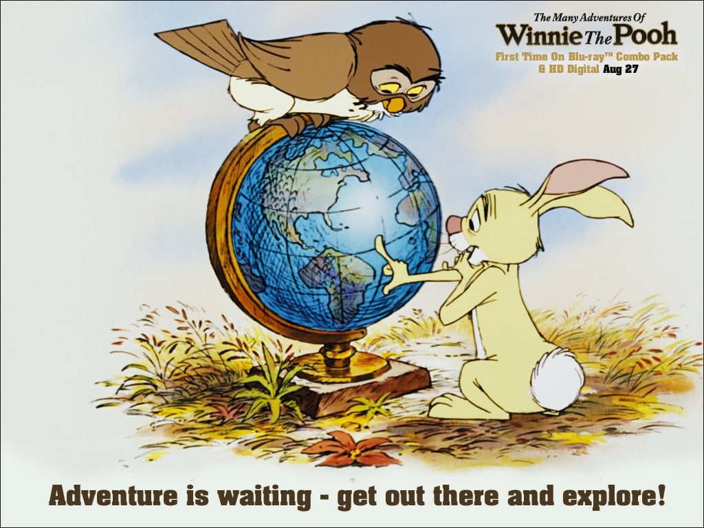 Owl (voiced by Hal Smith) and Rabbit (voiced by Junius Matthews) looking at a globe in the movie The Many Adventures Of Winnie The Pooh