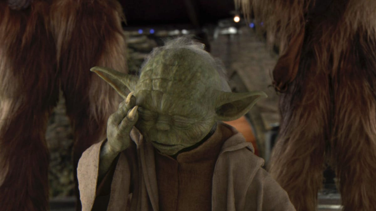 Yoda sensing the purge of the Jedi