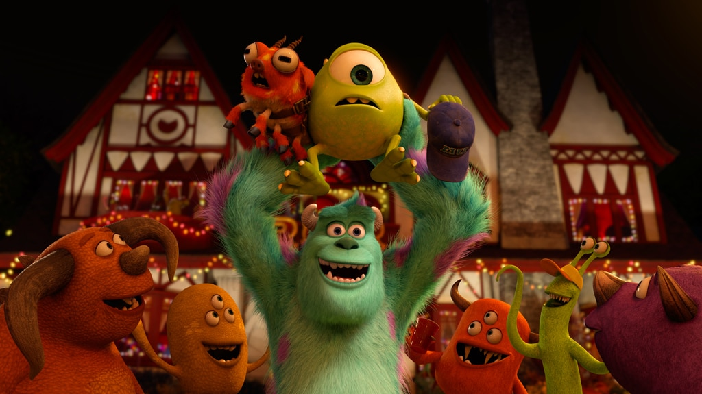 """Sulley and Mike finally recapture Fear Tech's mascot, Archie. From the move """"Monsters University"""""""