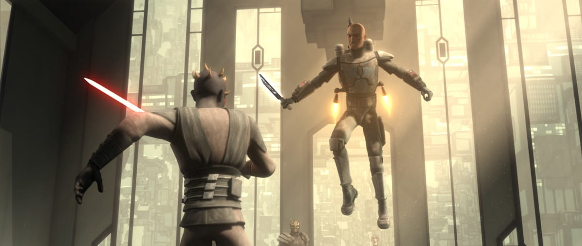 Pre Vizsla dueling Darth Maul on Mandalore