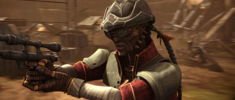 Hondo Ohnaka wielding a blaster in combat