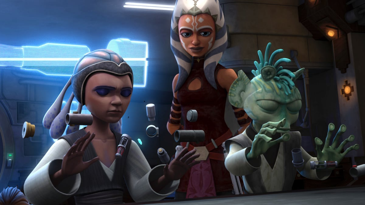 Ahsoka Tano mentoring Katooni and Ganodi as they construct their lightsabers