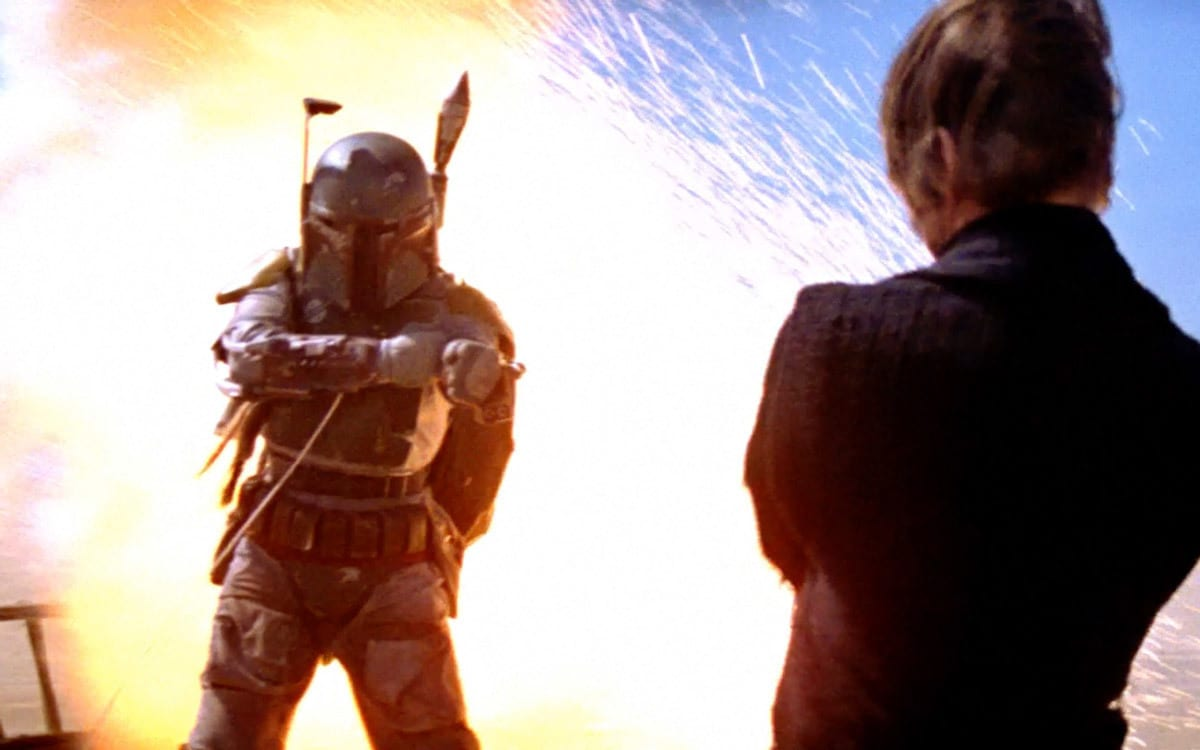 Luke Skywalker and Han Solo escape Boba Fett