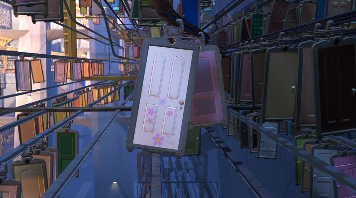 Boo's white door with pink flowers amongst other doors in Monsters, Inc.