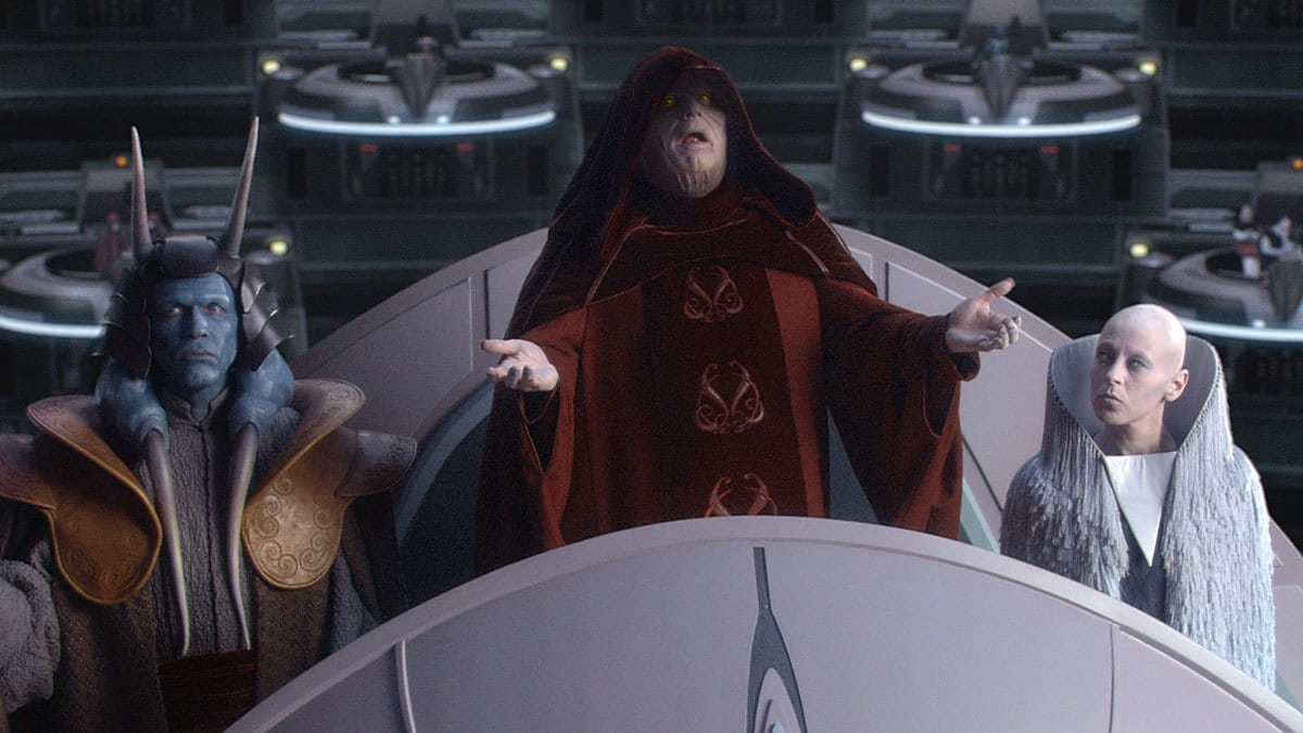 Darth Sidious declaring the formation of the Galactic Empire