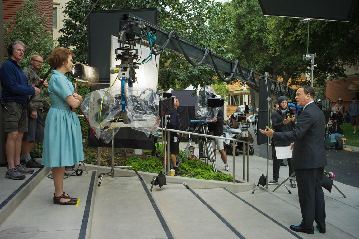 """Actor Tom Hanks as Walt Disney behind-the-scenes in the movie """"Saving Mr. Banks""""."""