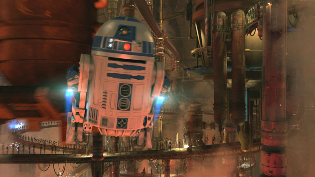R2-D2 flying in the droid factory on Geonosis
