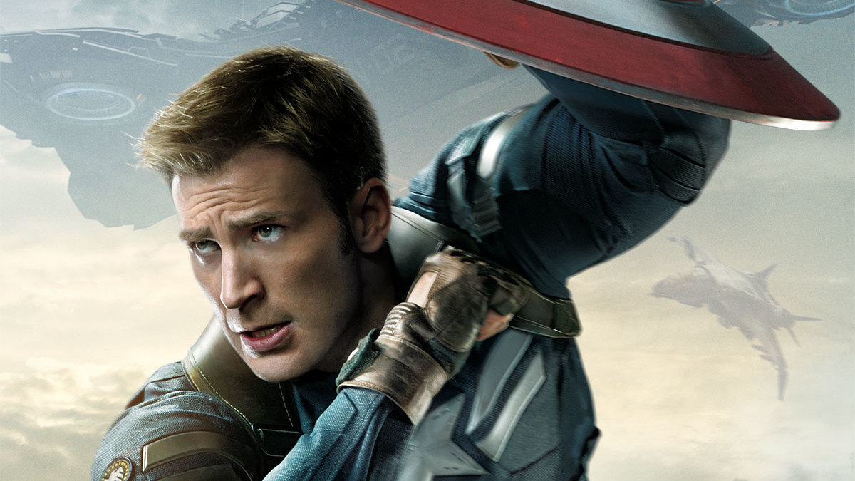 Actor Chris Evans (Steve Rogers/Captain America) in Captain America: The Winter Soldier.