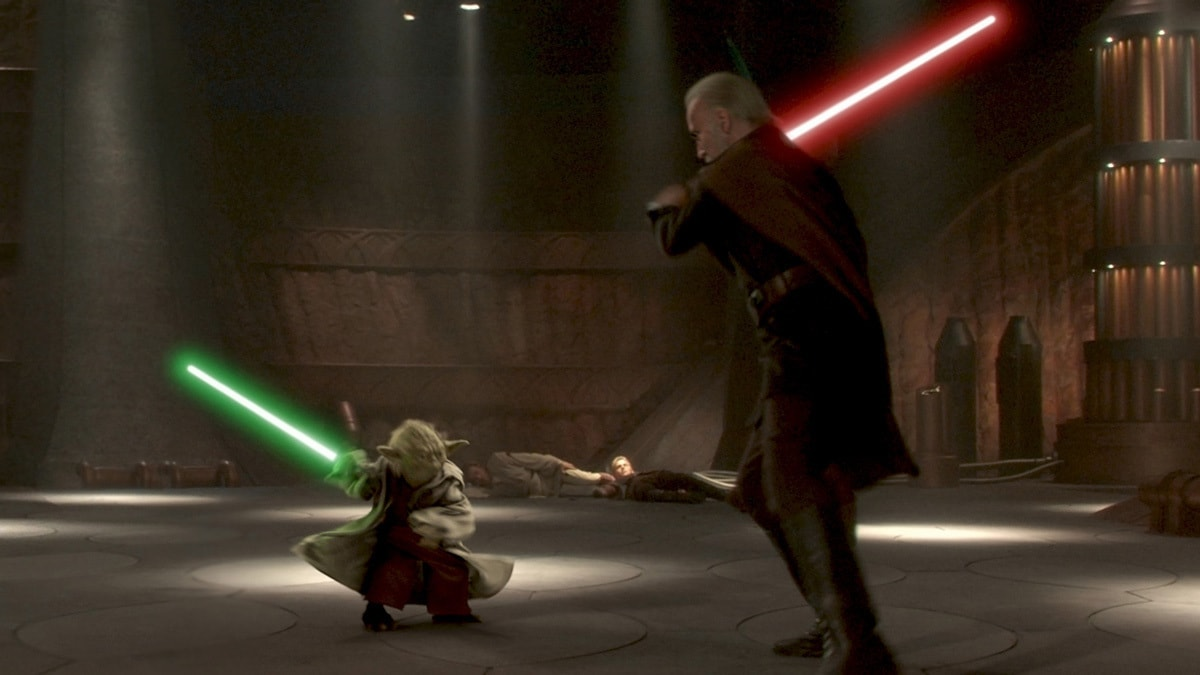 Yoda dueling Count Dooku on Geonosis