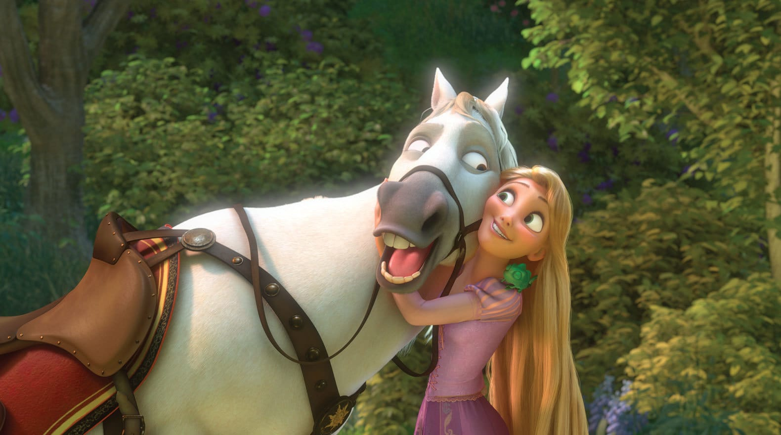 Rapunzel voiced by Mandy Moore hugging Maximus (a white horse) in Tangled