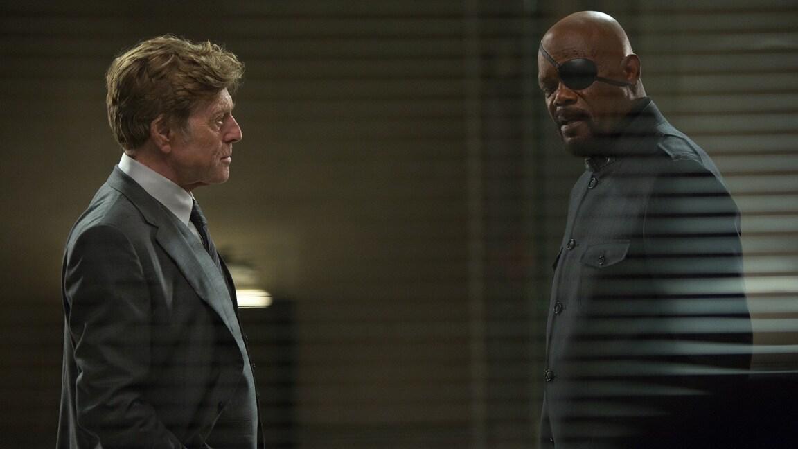 Actors Robert Redford (Alexander Pierce) and Samuel L. Jackson (Nick Fury) in Captain America: The Winter Soldier.