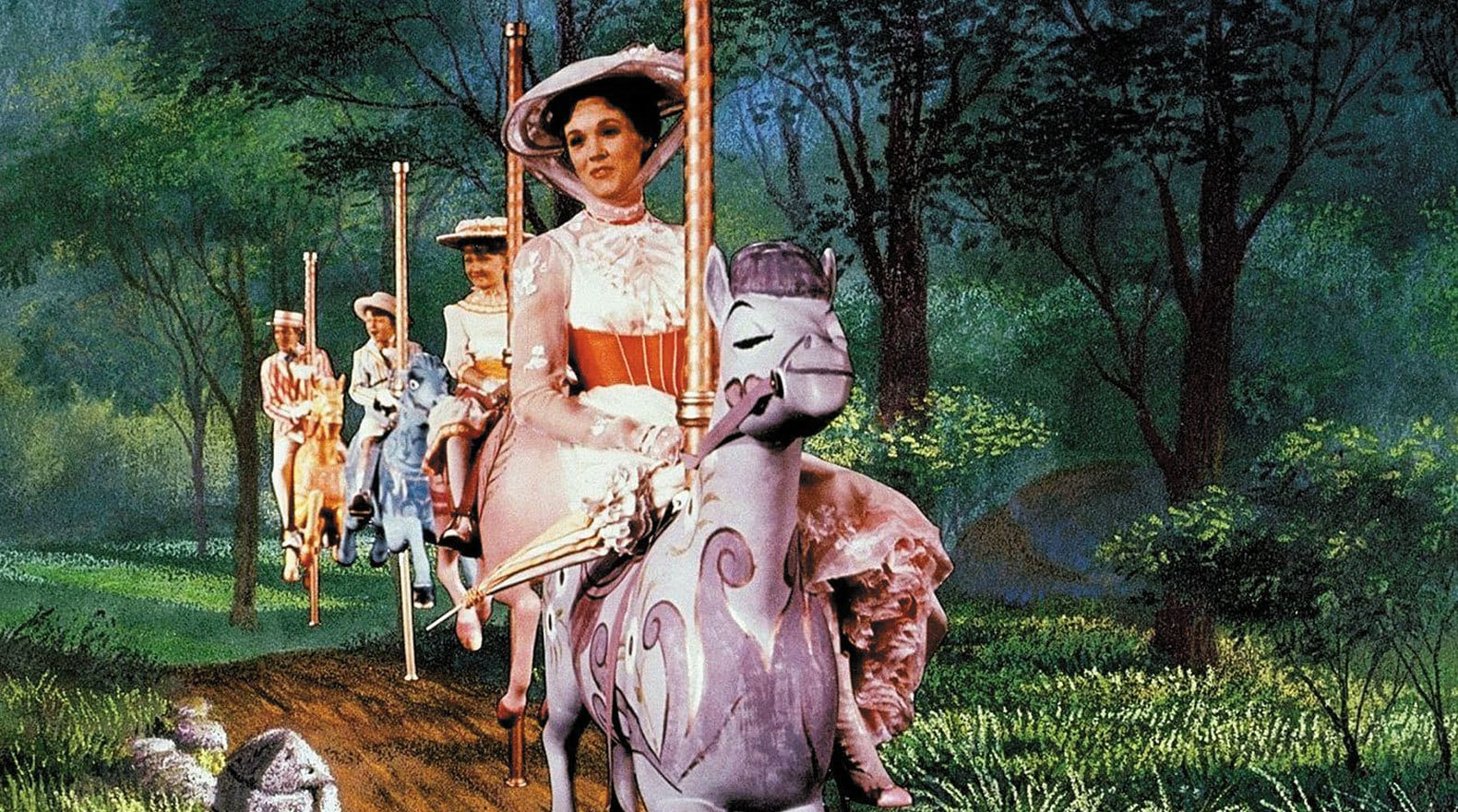 """Mary, Jane, Michael, and Bert ride their carousel horses in """"Mary Poppins"""""""