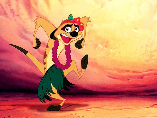 When Simba needs a little help getting past the hyenas, Timon does the hula.