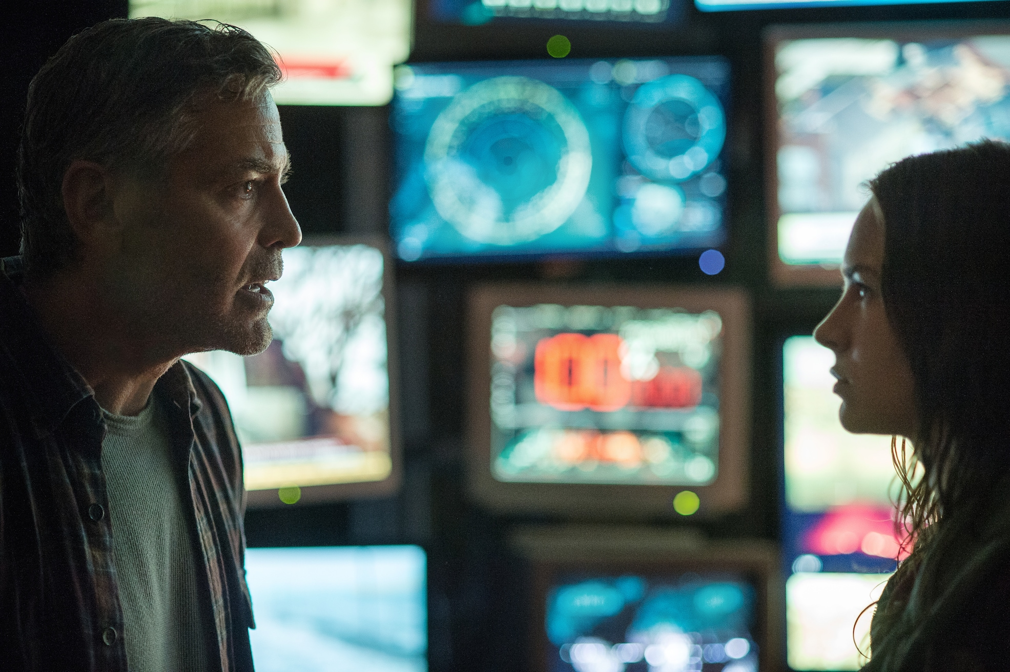 """Actors George Clooney and Britt Robertson in the movie """"Tomorrowland"""""""