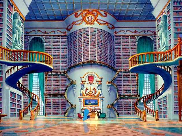 Beast surprises Belle with the greatest gift she's ever received - and entire room full of books.