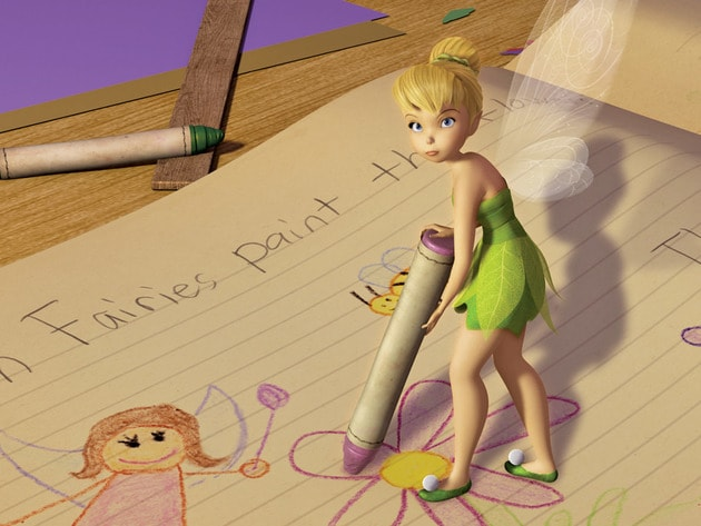 Tink makes sure Lizzy takes down all her fairy research correctly.