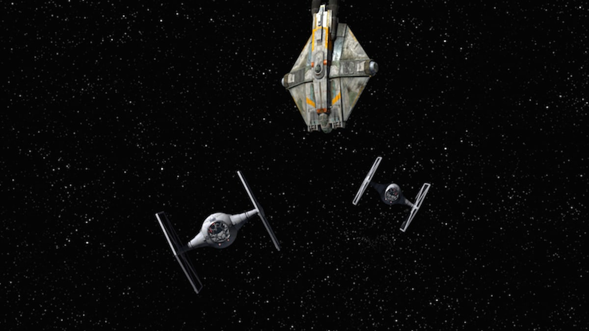TIE Fighters attacking the Ghost