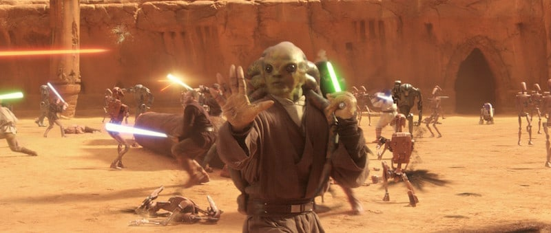 Kit Fisto fights Separatist droids