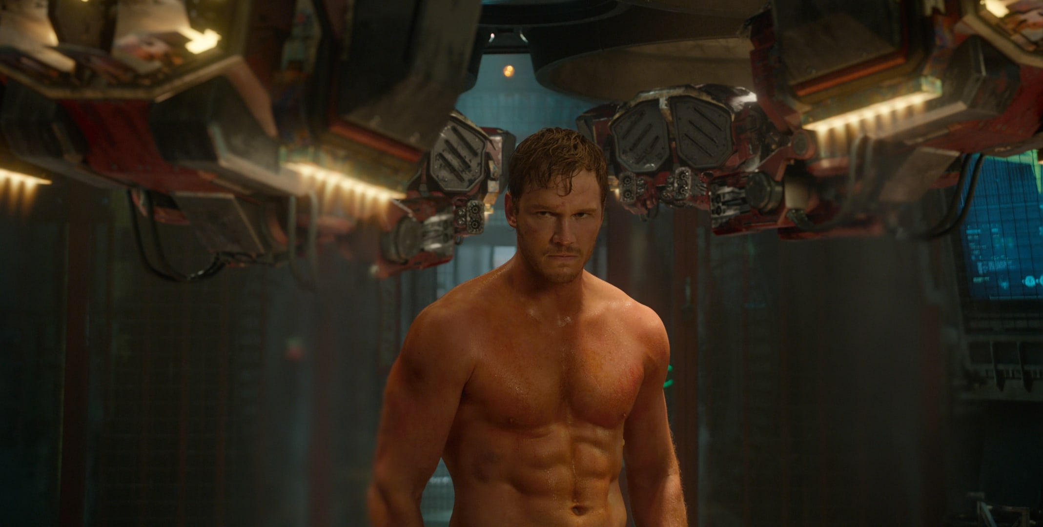 Chris Pratt Shirtless as Peter Quill (Starlord) in the movie Guardians of the Galaxy