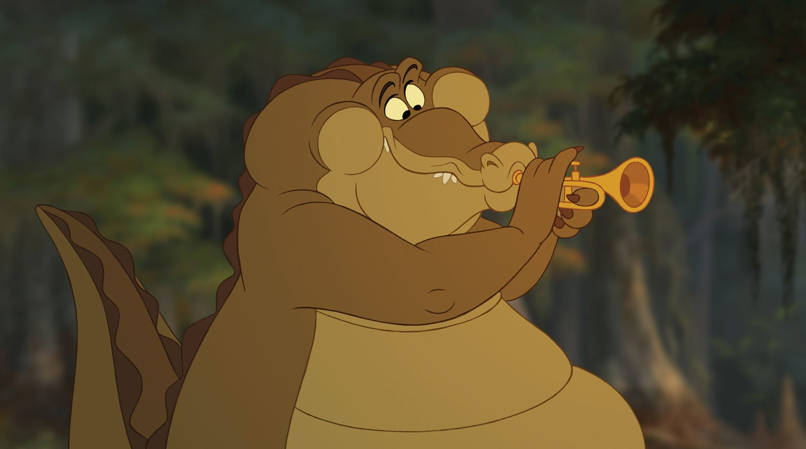 Louis voiced by Michael-Leon Wooley is an alligator playing the trumpet