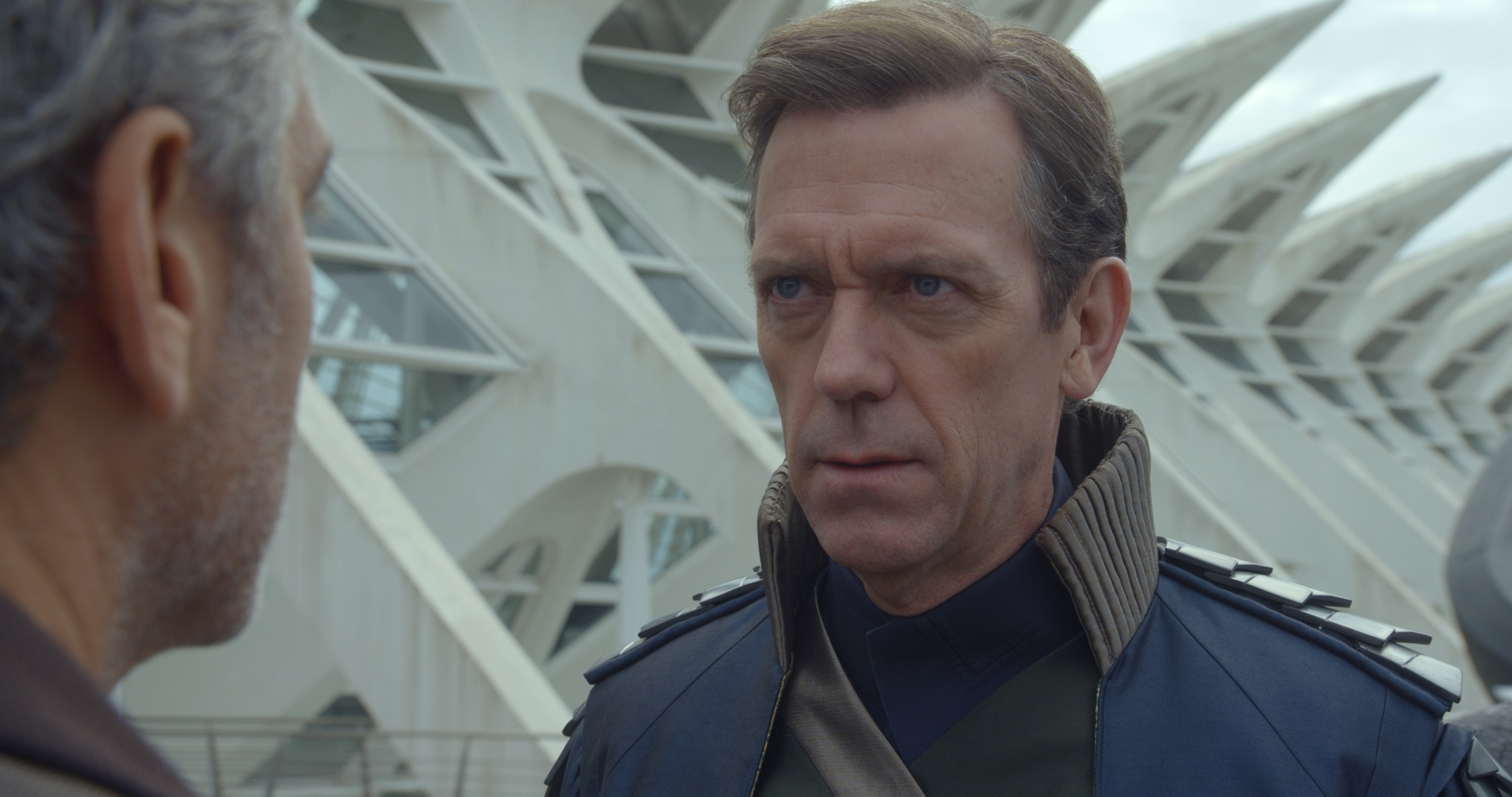 """Actors George Clooney and Hugh Laurie in the movie """"Tomorrowland"""""""