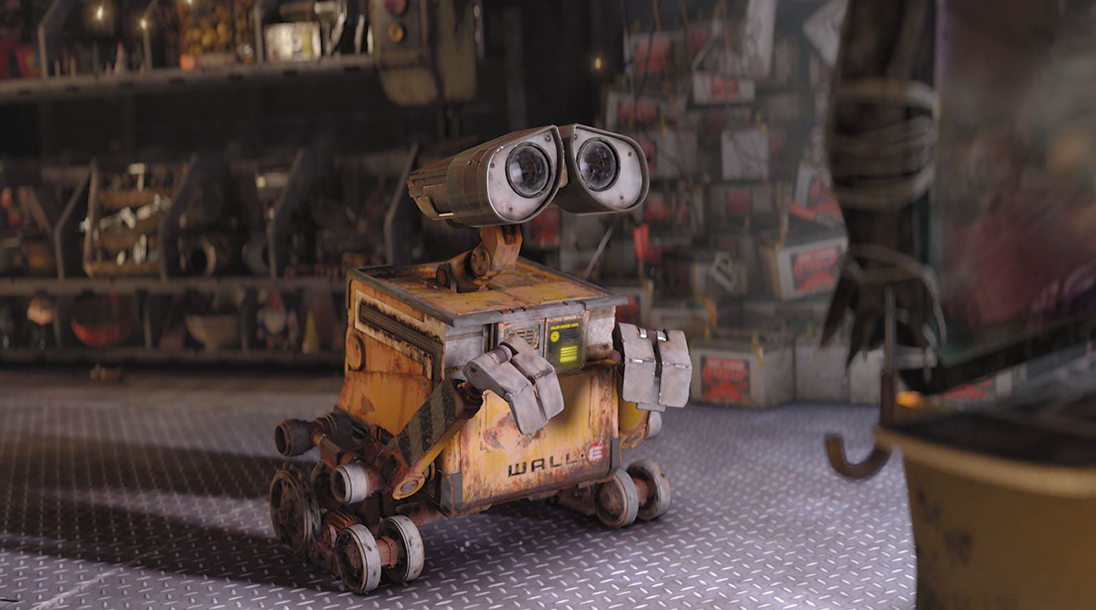 """WALL•E learns about humans and emotions by watching an old film. From the movie """"Wall-E"""""""