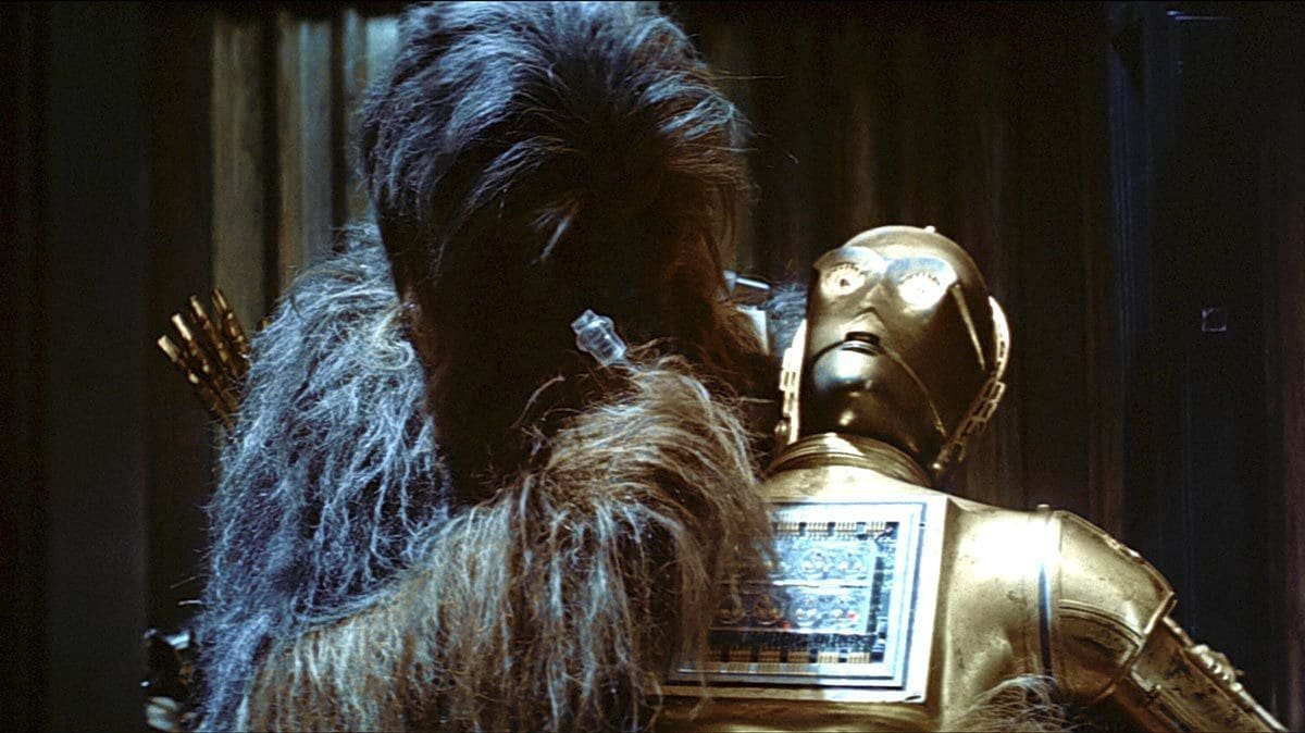 Chewbacca attempting to fix C-3PO in Cloud City