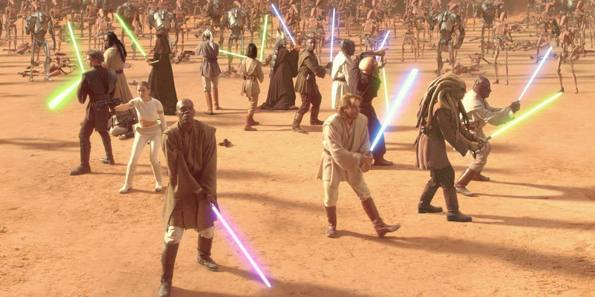 Jedi surrounded by Battle Droids during the Battle of Geonosis