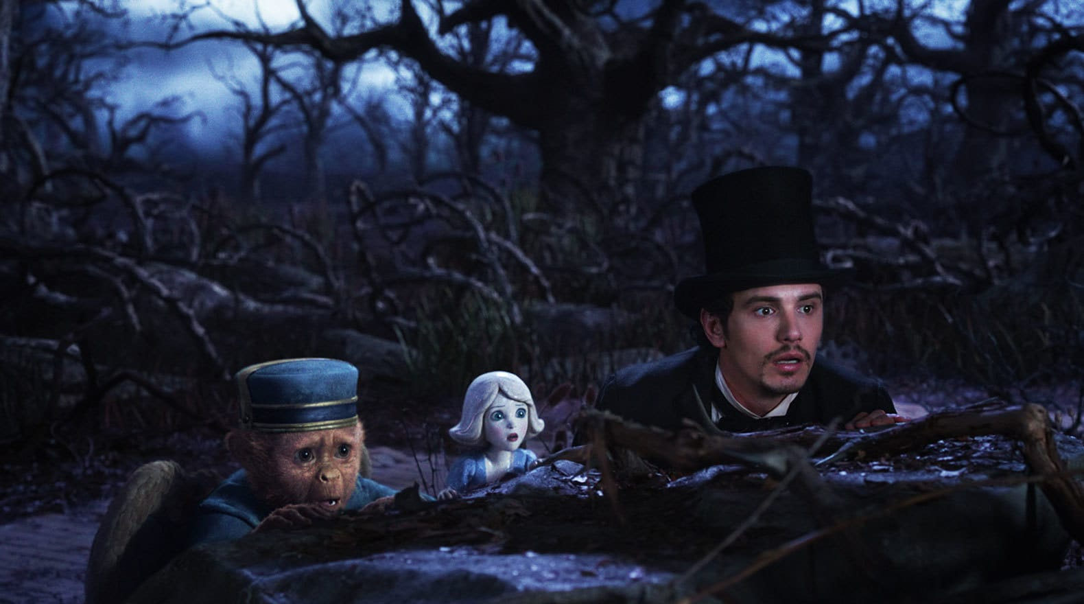 """Zach Braff, James Franco, and Joey King in """"Oz the Great and Powerful"""""""