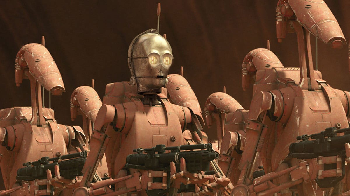 C-3PO's head on a Battle Droid