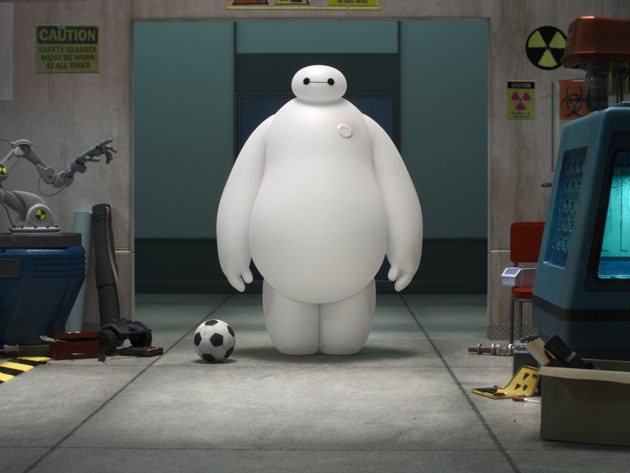 """Baymax (voiced by Scott Adsit) standing next to soccer ball in the movie """"Big Hero 6"""""""